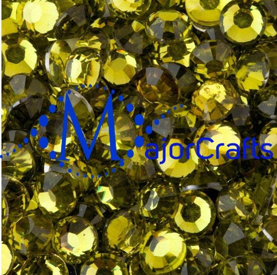 Olive Green Flat Back Round Resin Rhinestones Embellishment Gems C10