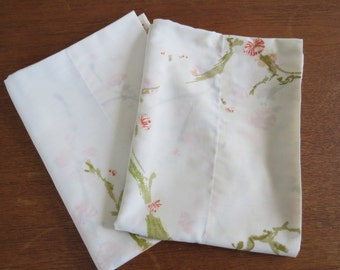 "Vintage Pillowcase Pair - Pale Cherry Blossoms - 30"" x 20"""