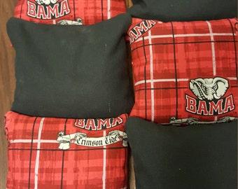 Alabama Crimson Tide Print and solid Black Bama Cornhole Bags, Set of 8, Roll Tide, Bean Bag Toss, Outdoor Games,