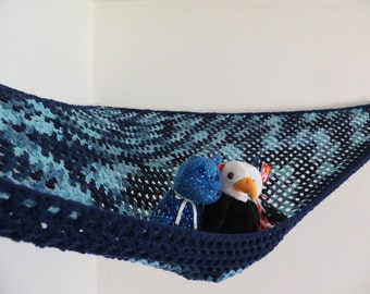 Large crochet toy net hammock in shades of blue with navy blue trim, stuffed animal storage for boys or girls room MADE TO ORDER