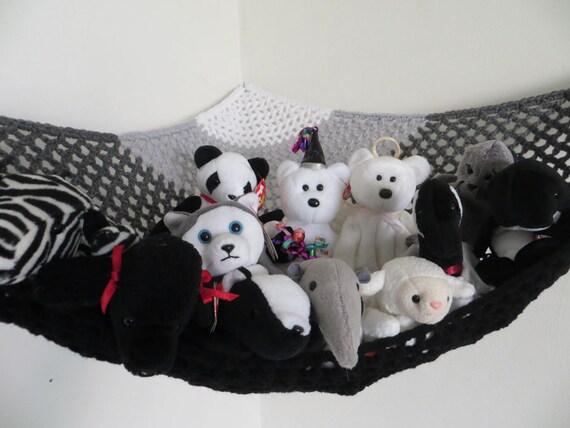 stuffed animal storage crochet toy net hammock in black gray. Black Bedroom Furniture Sets. Home Design Ideas