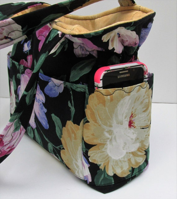 black gold floral shoulder bag travel handbag by justbeautiful161. Black Bedroom Furniture Sets. Home Design Ideas