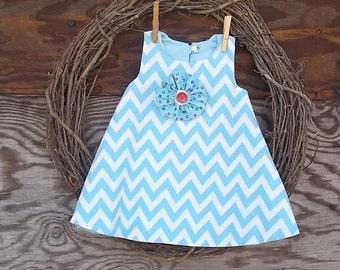 Baby Girls Dress, Blue chevron Dress, Dress with bloomers, Ruffled Bloomers, Baby Dress, Blue Baby Dress