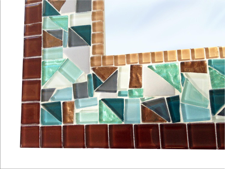 Rectangular Mosaic Wall Mirror in Brown Aqua Gray White