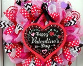 Valentine's Wreath - Deco Mesh Wreath - Valentines Decor - Door Decoration - Holiday Decor