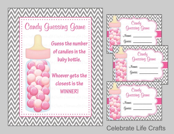 Baby Shower Candy Bottle Or Candy Jar Guessing Game Printable Sign And Tags    Baby Girl   Grey Pink Gray Chevron Candy Jar Game   B2004