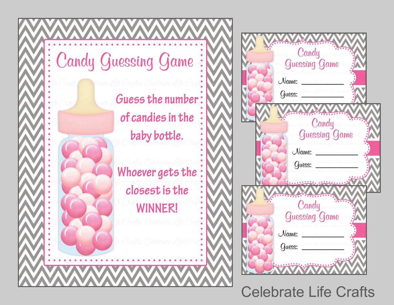 baby shower candy bottle or candy jar guessing game printable. Black Bedroom Furniture Sets. Home Design Ideas