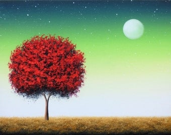 ORIGINAL Oil Painting, Red Tree Painting, Canvas Art, Abstract Tree Art, Surreal Art Moon Painting, Landscape, Green Night Sky, 12x16