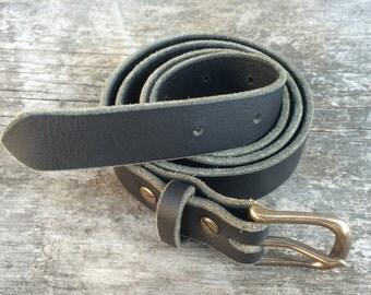 Leather belt, 1 inch wide, Black full grain leather, Men's belt, Women's belt, Handmade belt, Custom belt, The Willamette belt
