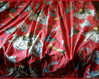 Vintage Drape Fabric Exploration Theme Globe Fabric
