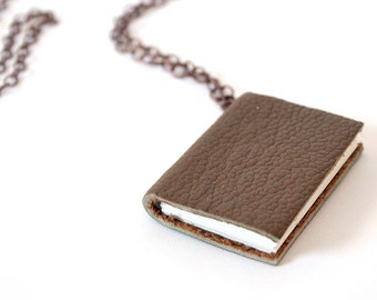 Medium Brown Small Mini Book Necklace Pendant - Bronze chain Layer Necklace