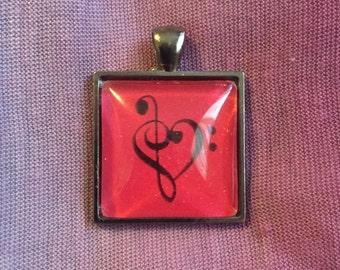 Treble/Bass Clef Heart Pendant