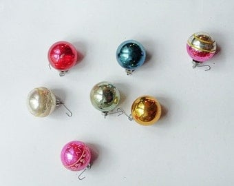 Vintage 1950's Glass Ball Ornaments - Set of Seven Assorted Shiny-Brite, Premier Glass Works Ornament, Holiday Home Decor, Vintage Christmas