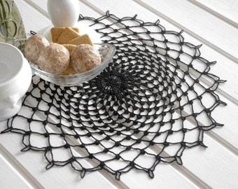 Large crochet doily Black elegant crochet doilies Table decor Round crochet centerpiece Large crochet doily Crochet decoration Black lace