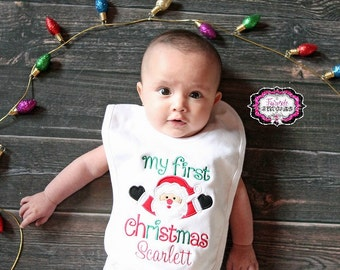 My First Christmas, First Christmas Bib, My First Christmas Bib, First Christmas, Holiday Bib, Baby Shower Gift