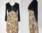 Super TRENDY 60s Black & Gold TINSEL Dress with LACE Up Bust! Small to Medium