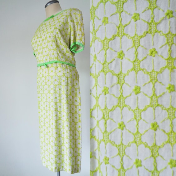 Vtg 60s acid lime green t shirt dress with embroidered floral for Bright green t shirt dress