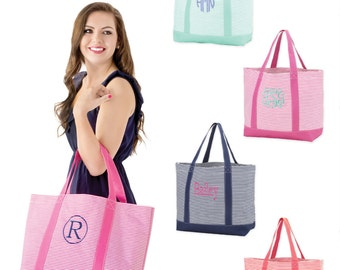 Monogram Pinstripe Tote, Beach Bag, Bridesmaid Bag