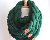 SALE Green Infinity Loop Scarf Braided Cable Knit Neckwarmer Scarves with Buttons Women Girls Accessories