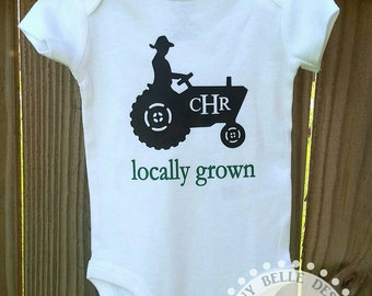Personalized Locally Grown Baby Onesie; Monogrammed Baby Bodysuit; Baby Clothes