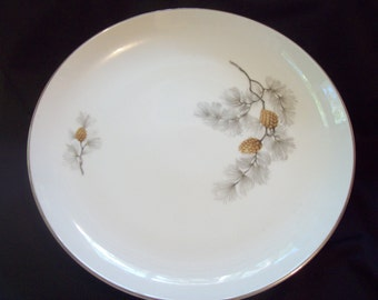 """Vintage Norleans Pine Cones 12"""" Round Platter circa 1950s Dinner China Made in Japan"""