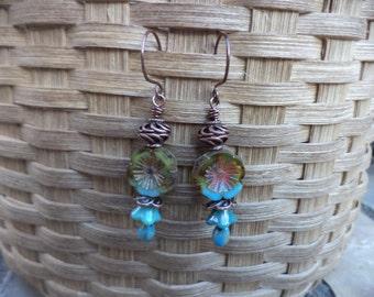 Flower Earrings Turquoise And Green Flower Earrings Copper Earrings Dangle Earrings Drop Earrings Flower Jewelry Turquoise Earrings