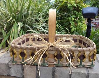 Yellow Sunflower Casserole Basket Handwoven Basket Kitchen Basket