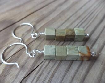 Cube Beads Dangle Drop Sterling Silver Earrings Sage Green Rust Cube Earrings