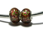 Multi Color Abstract Bead for European Style Charm Bracelet -.925 Silver Core