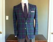 ULTRA RARE Vintage 1950s - 1960s Scotch House BLACKWATCH Tartan Tweed Jacket w/ 3 Exterior Patch Pockets 38 or 40 R.  Loomed in Scotland.