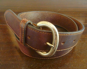 Vintage Eddie Bauer Brown Leather Trad / Ivy League Belt Size M | 28 or 30.  Made in USA.
