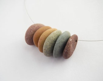 Top Drilled Beach Pebble Beads in Rainbow Colors - Set of 6