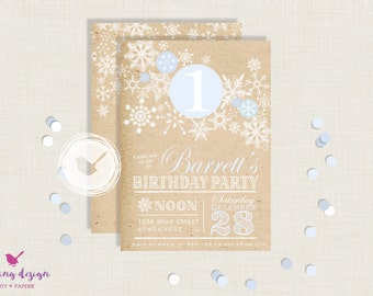 Winter Wonderland Invitation Set //  Personalized // Printable // Thank You Cards // Address Labels // Winter Party // Kraft Paper