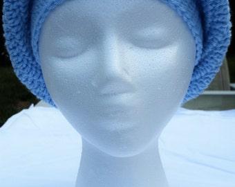 Crochet Slouchy Hat-Light Blue