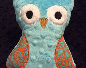 Turquoise Blue Minky Owl, CLEARANCE SALE
