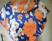 Vintage 1960s acetate scarf abstract floral blue orange white 27 x 27 inches