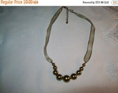50% OFF Monet ribbon bead necklace, vintage sage green bead necklace by monet