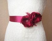 Wedding sash dark red Bridal belt Bridesmaid dress belt Floral sash burgundy red