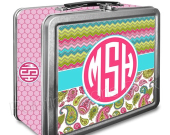 Chevron & Paisley Monogram Classic Tin Lunch Box | Back To School | Customized | Image on Both Sides