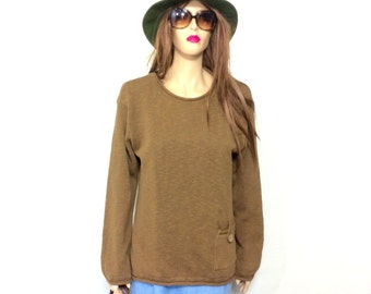 Vintage Minimalist Sweater 80's Sweater 90's Sweater Slouchy Sweater Jumper Slouchy Olive Green Sweater Oversized Sweater Large Clothing USA