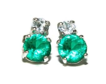 Emerald Earrings, Sterling Silver Stud Earrings, White Sapphire Earrings, Two Stone Earrings