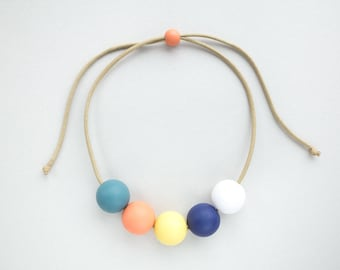 LIMA Necklace - teal / peach / yellow / blue / white