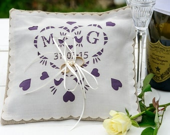 Personalised Wedding Ring pillow, cushion, date and initials, with a colour panel