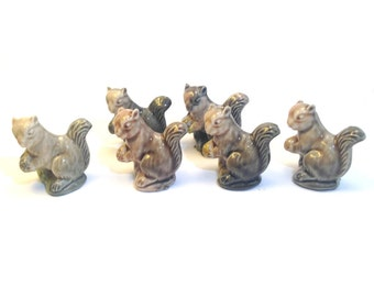 Vintage Squirrel Wade Whimsie Party Favor Set of 6 - 1974