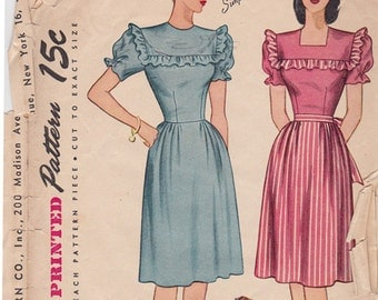 1940s Ruffle Bodice Dress Vintage Perforated Sewing Pattern - Simplicity 1553 - Size 16, Bust 34, Complete