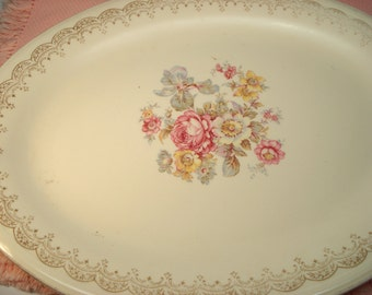 Vintage Platter Edwin Knowles Priscilla Floral Large Oval Platter Shabby Cottage Chic Vintage Wedding Bridal