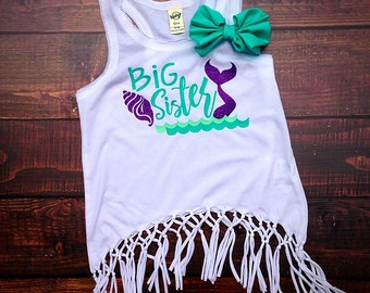 Big Sister Shirt, Big Sis Shirt, Big Sister Mermaid Tank, Big Sister Tank with Bow, Sister shirts, sibling shirts, Fringe Tank {Mermaid}