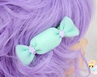 Mini Green Lolita Clip, Fairy Kie Hair clip, Kawaii candy clip, Pastel clip, Puffy Candy Clip, Handmade Hair Candy, Oversized Hair Candy