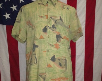 Mens 90's shirt, mens vintage shirt, light shirt, retro shirts, 90's mens shirt, casual shirt, patterned, nineties, shirt, beach shirt