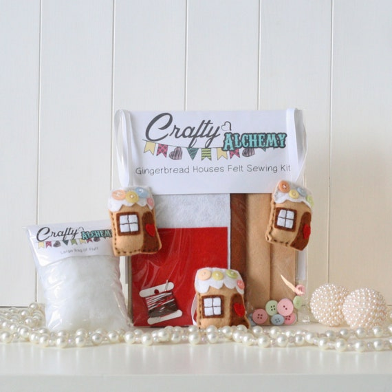 Felt Gingerbread House Christmas Decoration Sewing Kit